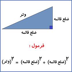 آموزش در رابطه فیثاغورس در مثلث های قائم الزاویه - درس در خانه