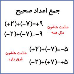 جمع اعداد صحیح - درس در خانه