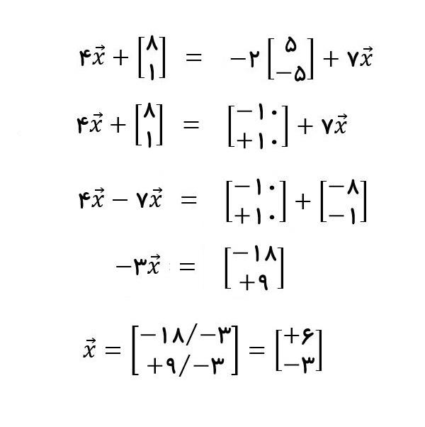حل معادله برداری - درس در خانه