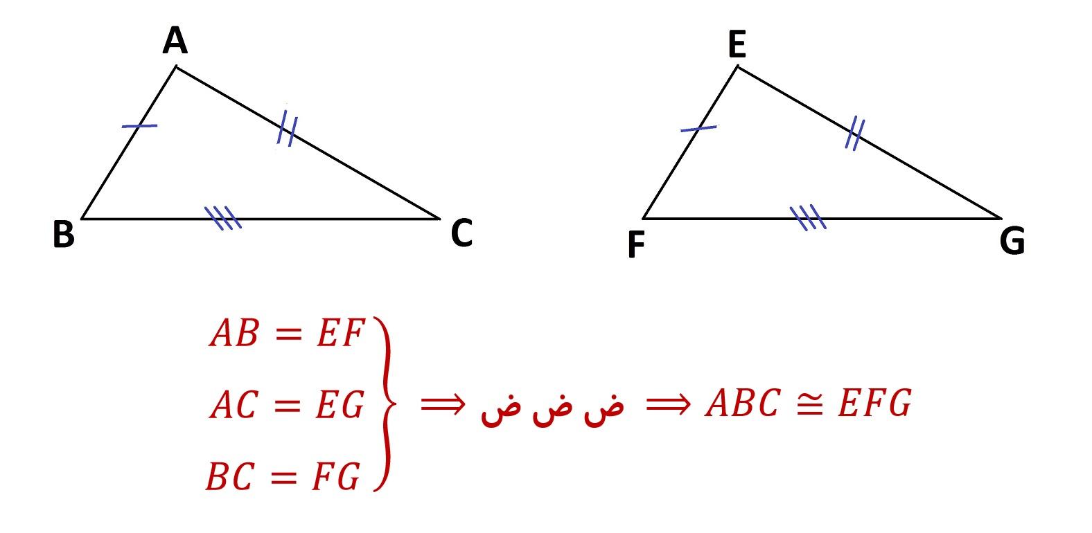 هم نهشتی مثلث ها - حالت برابری سه ضلع - ض ض ض - درس در خانه