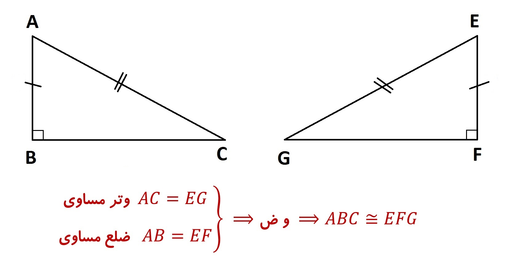 هم نهشتی مثلث های قائم الزاویه حالت وتر و یک ضلع - درس در خانه