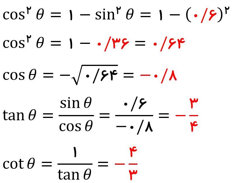 رابطه بین نسبت های مثلثاتی - پاسخ مثال 1