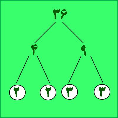 تجزیه عدد ، تجزیه درختی - درس در خانه