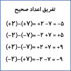 تفریق اعداد صحیح - درس در خانه