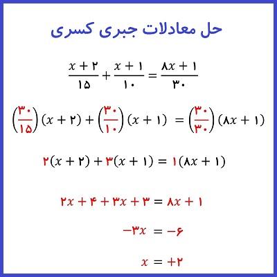 حل معادلات جبری کسری - درس در خانه