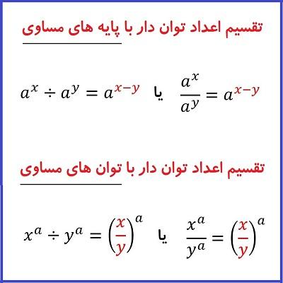 تقسیم اعداد توان دار با پایه های مساوی یا با توان های مساوی - درس در خانه