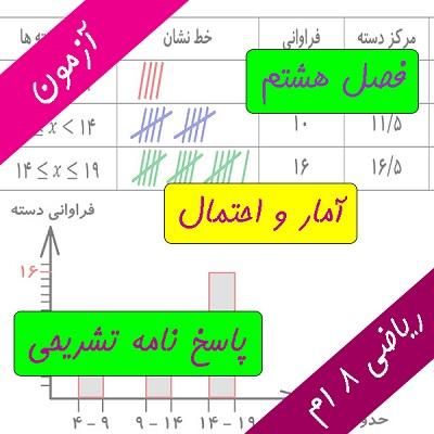 آزمون فصل هشتم ریاضی هشتم آمار و احتمال - درس در خانه